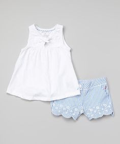 Love this White Eyelet Tunic & Blue Seersucker Shorts - Infant & Toddler by Nautica on #zulily! #zulilyfinds