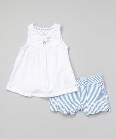 Love this White Eyelet Tunic & Blue Seersucker Shorts - Infant & Toddler by Nautica on #zulily! #zulilyfinds