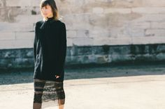 Fall Outfit Idea: A Black Turtleneck Sweater Paired With a Sheer Lace Skirt // More Fall Style Inspiration From Paris Fashion Week: (http://www.racked.com/2015/10/2/9439243/paris-fashion-week-street-style#4848496)