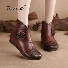 Real Genuine Leather Casual Shoes Tastabo Flower Handmade Ankle Boots With Fur Retro Boots Shoes Women Fashion Soft Genuine Leather Winter Warm Boots for Women From Touchy Style Outfit Accessories ( Brown. Fur Boots, Shoe Boots, Ankle Boots, Tall Boots, Minimalist Shoes, Vestidos Vintage, Winter Shoes, Outfit Winter, Spring Shoes
