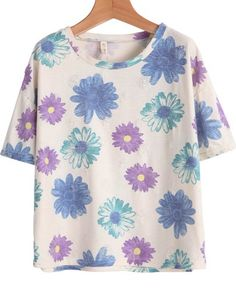 Purple Short Sleeve Floral Ripped Loose T-Shirt