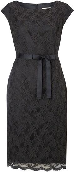 Linea Black Lace Shift Dress - would probably like this better in teal or coral )
