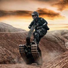 DTV Shredder - A powered, all-terrain tracked vehicle that is ridden like a skateboard.
