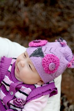 Baby Owl Hat  Upcycled Sweater Hat  Photography by JFDesignsbyMe, $18.00