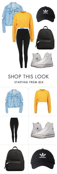 """Casual"" by amylynne00 ❤ liked on Polyvore featuring Topshop, Converse, MANGO and adidas"
