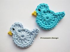 Crochet applique, 6 small crochet birds, cards, scrapbooks, appliques and embellishments Crochet Diy, Crochet Birds, Love Crochet, Crochet Animals, Crochet Crafts, Yarn Crafts, Crochet Flowers, Crochet Hooks, Simple Crochet