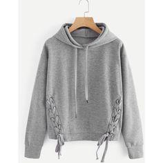 Lace Up Side Marled Hoodie (455 RUB) ❤ liked on Polyvore featuring tops, hoodies, lace up hoodie, hoodie top, marled top, laced up top and lace front top