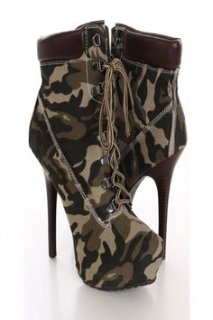 Camouflage Faux Suede Ankle Booties