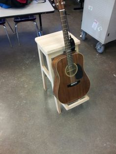 Guitar stool and stand made out of 100 year old reclaimed piano wood.