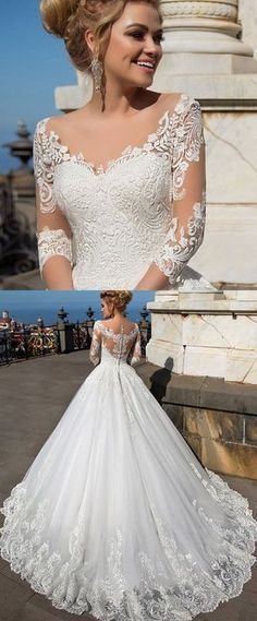 Wonderful Tulle & Organza V-neck Neckline Ball Gown Wedding Dresses With Lace
