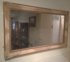 """NOW SOLD! A Decorative Early 19th Century Large French Mirror with carved gesso and gilt decoration, retaining the original plate, 61"""" x 36"""""""