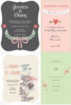 Lovely Wedding Invitation Cards - Free Designer Resources - StarSunflower Studio