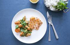 Bagt torsk med kokosstuvede gulerødder - nemlig.com