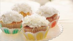 Pineapple, coconut and rum create a tropical paradise of flavor in frosted easy-mix cupcakes.