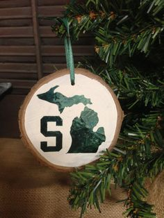 Michigan State University Blown Glass Christmas Tree Ornament ...