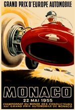 Monaco Grand Prix 1955 Car Race Ham France - Vintage Poster Reproduction. This vertical French transportation poster features a red race car and driver that from a low angle so they appear to be driving over us. Giclee Advertising Print. Classic Posters