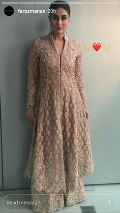 Pakistani outfit on a bollywood actress. Pakistani Wedding Outfits, Pakistani Dresses, Party Wear Indian Dresses, Indian Attire, Indian Outfits, Indian Designer Outfits, Designer Dresses, Pakistani Couture, Desi Clothes