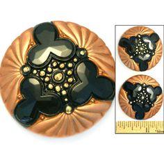 LG 36mm Vintage Czech Glass Matte Copper Black Art Deco Triple BURST Buttons 2