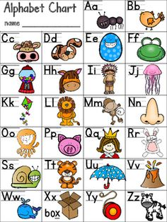 ALPHABET CHART FREEBIE for Beginning Readers & Writers