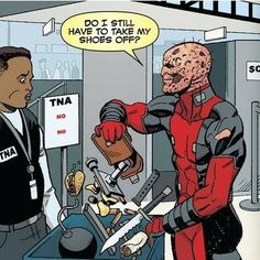 Deadpool at the airport