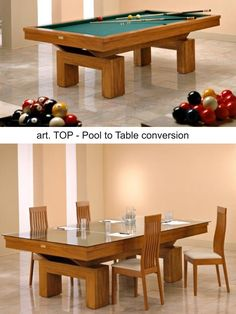 Mod. TOP Pool Table with Dining setup by Etrusco of Mosti Cesare.