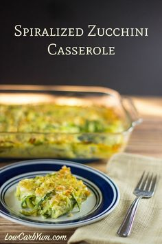 Enjoy this tasty low carb spiralized zucchini casserole as a side dish for a main meal or brunch. It's got an egg base and a crunchy gluten free topping. Zoodle Recipes, Spiralizer Recipes, Vegetable Recipes, Vegetarian Recipes, Vegetable Spiralizer, Low Carb Recipes, Cooking Recipes, Healthy Recipes, Diabetic Recipes