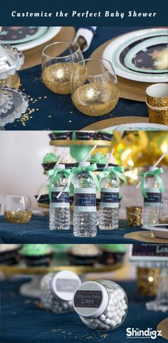 Our exclusive Mint Green Twinkle, Twinkle Party Supplies feature an adorable gold star pattern on a dark blue background with a mint green background. From tableware to decorations and even favors, our Mint Green Twinkle, Twinkle Party Supplies will make your baby shower sparkle.