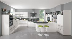 Lacquered Laminate, Alpine white Supermatt Kitchen Who doesn't dream of it - a kitchen in which the daily routine is made as comfortable as possible and where the appliances use the latest technology? In this kitchens suggestion you will find everything a kitchen-connoisseur desires. Particularly important here: This kitchen was essentially designed according to ergonomic principles. For more about ergonomics, please refer to the following pages.