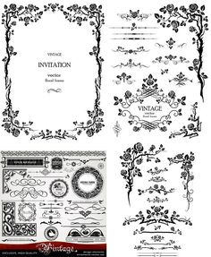Retro.Pattern.Elements.Vector.Border-aiovector.com Letter Patterns, Stencil Patterns, Stencil Designs, Tattoo Lettering Styles, Vector Border, Wedding Borders, Vintage Borders, Bullet Journal Books, Vintage Invitations