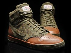 Harris Tweed and Leather Nikes.