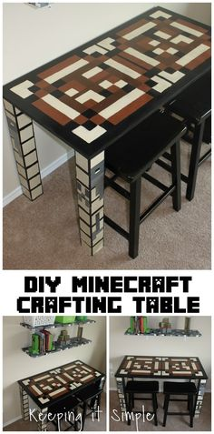 Boys Homework Station: DIY Minecraft Crafting Table My boys are obsessed with Minecraft so when I was decorating their room, I wanted a homework table. So I made this Minecraft crafting table for them. Homework Table, Homework Station Diy, Homework Area, Craft Station, Minecraft Decorations, Minecraft Crafts, Minecraft Room Decor, Minecraft Cake, Boys Minecraft Bedroom