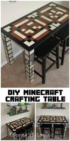 Keeping it Simple: Boys Homework Station: DIY Minecraft Crafting Table
