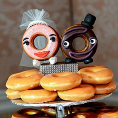 Looking for a new take on your wedding cake? These whimsical cake topper alternatives are fun ideas for any wedding style. Unusual Wedding Cakes, Cool Wedding Cakes, Wedding Cake Toppers, Doughnut Wedding Cake, Doughnut Cake, Donut Party, Free Wedding, Hotel Wedding, Cake Tower