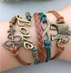 Buy Cool Bracelets at Great Prices! Check Out Our Selection Of Unique Handmade Bracelets In Leather, Spiked, Skulls, Stainless Steel Designs & More. Love Bracelets, Handmade Bracelets, Fashion Bracelets, Fashion Earrings, Diy Leather Bracelet, Cheap Fashion Jewelry, Elephant Bracelet, Sterling Silver Bracelets, Arm Party