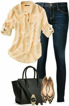 Polished casual in neutrals, love the top with pointy leopard flats