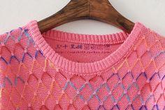 三十★2014秋装新款甜美女装经典晕染彩色菱格针织圆领毛衣 3色-淘宝网