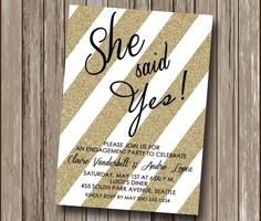 Black and Gold Glam Glitter SHE SAID YES Engagement Announcement - Engagement Party Invitation - We're Engaged - Printable - Any Colors!