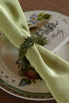 Rosemary Napkin Holder. Enchant baby shower guests with small touches, like napkins wrapped in the traditional symbol of remembrance.