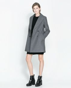 Zara Gray Double Breasted Wool Coat