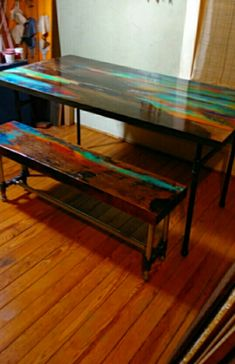 Dazzle your dinner guests with the dramatic color and natural wood blends in this dining table and complimenting bench. Paint Furniture, Furniture Projects, Furniture Makeover, Home Furniture, Bedroom Furniture, Table And Bench Set, Repurposed Furniture, Dining Table, Dining Chairs