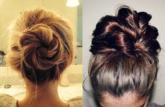 How to Do a Messy Bun with Long Hair: 4 Bun Styles Bun Hairstyles For Long Hair, Cute Hairstyles, Wedding Hairstyles, Hairdos, Long Hair Highlights, Bun Styles, Dull Hair, Cool Haircuts, Curly Hair Styles