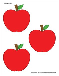 Paper Party Decorations, Apple Decorations, Toddler Crafts, Preschool Crafts, Crafts For Kids, Templates Printable Free, Free Printables, Apple Template, Apple Coloring Pages