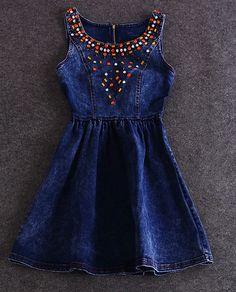 AX080601ax Cotton denim vest dress