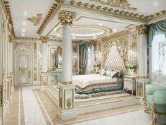 lovely classical bedroom interior – Home Design Luxury Bedroom Design, Master Bedroom Design, Luxury Home Decor, Master Master, Master Suite, Interior Modern, Luxury Interior, Home Interior Design, Royal Bedroom