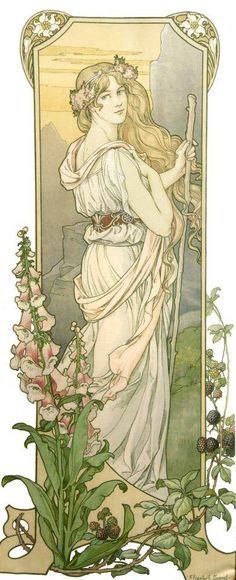 """fingersthroughmysoul:  """" Elisabeth Sonrel, Fleurs des Montagne  """"  Fleurs des Montagne (Mountain Flowers) - by Elizabeth Sonrel (French, 1874-1953) - Art Nouveau"""