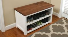 How to make a handsome adjustable shoe storage bench to neatly store your families sneakers, boots, and shoes. Throw out your tired shoe rack and build this