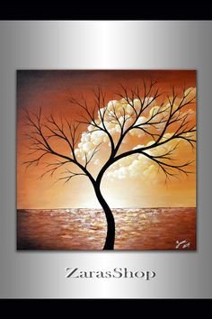 For the home abstract tree painting clouds wall office decor pastel modern fine art acrylic landscape original painting 20x20 float canvas