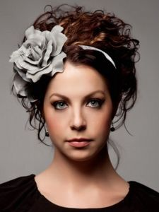 Long Updo Hair with Floral Headband