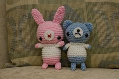Amigurumi bear and bunny I created today; my own pattern. :)     Look at my photos of Amigurumi.