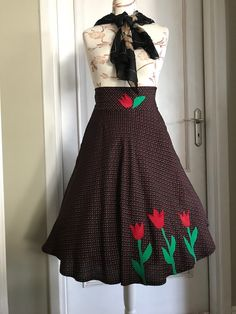SHE IS ME skirt with tulips, skirt with flowers, 50th